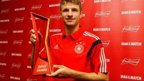 Tomas Muller llegó a ocho goles en seite partidos mundialistas con los tres de hoy.