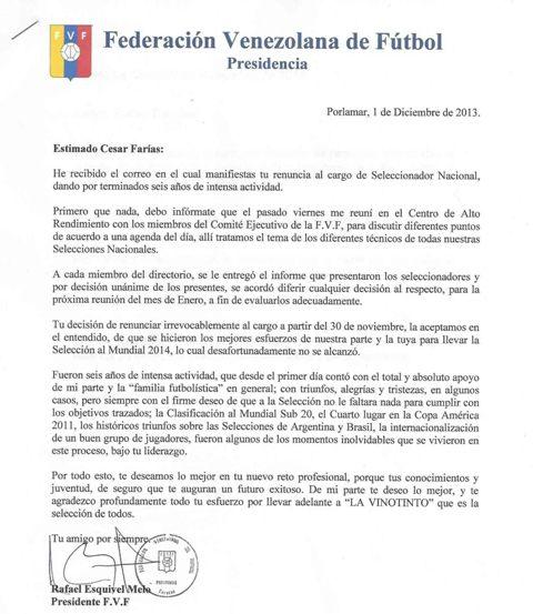 Carta de respuesta de Rafael Esquivel.