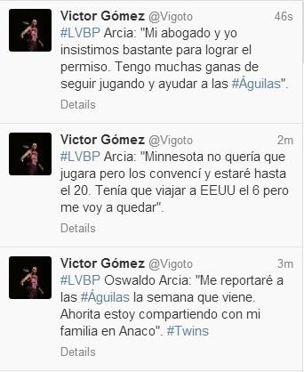 Imagen de los tweets del periodista Víctor Gómez.